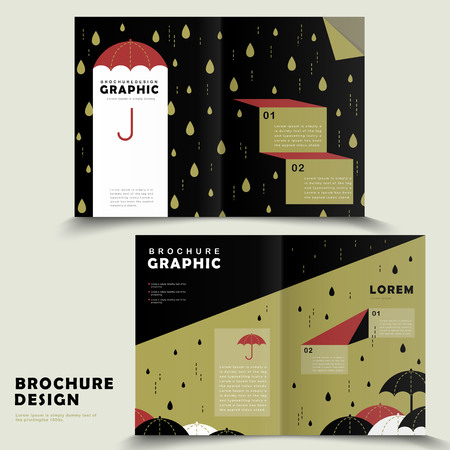 bifold: rainy day bi-fold brochure template design with lovely umbrella Illustration