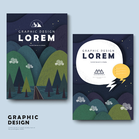 intro: adorable brochure template design with mountains around