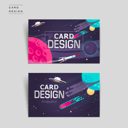 cartoon business card template design with outer space scenery