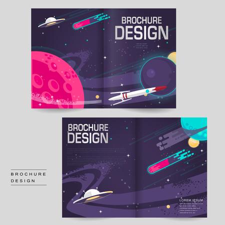 cartoon bi-fold brochure template design with outer space scenery