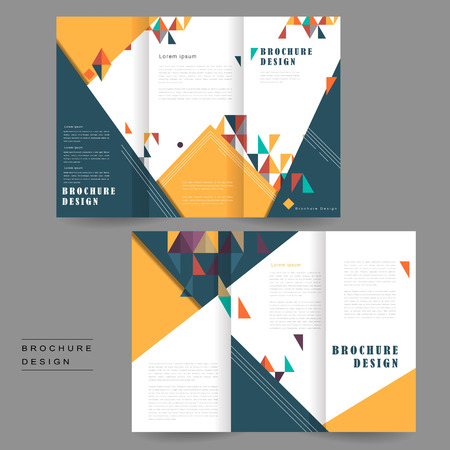 intro: cheerful tri-fold brochure template design with triangles element