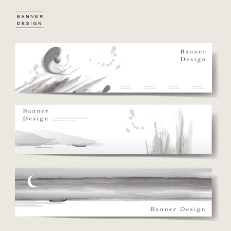 graceful banner template design set in ink and wash style