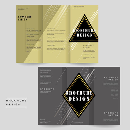 intro: elegant tri-fold brochure template design with triangle and rhombus elements