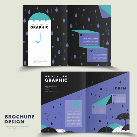 cute bi: rainy day bi-fold brochure template design with lovely umbrella Illustration