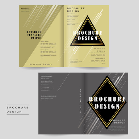 intro: elegant bi-fold brochure template design with triangle and rhombus elements