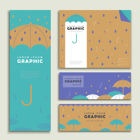 rainy day banner template design set with lovely umbrella Ilustração