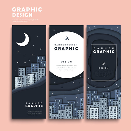 silent: banner template design set with silent but attractive city scene