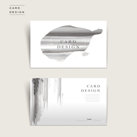 graceful business card template design in ink and wash style
