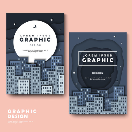 intro: brochure template design with silent but attractive city scene Illustration