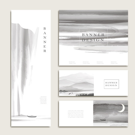 page layout: graceful banner template design set in ink and wash style Illustration