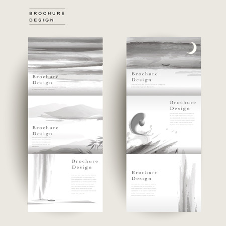 ink and wash: graceful tri-fold brochure template design in ink and wash style Illustration