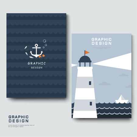 i dont know: adorable brochure template design with lighthouse and boat Illustration