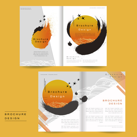 intro: bi-fold brochure template design with ink brush and geometric graphic Illustration