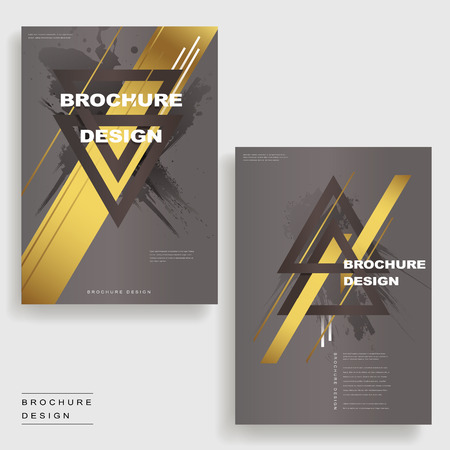 Elegant Brochure Template Design With Triangles And Golden Elements ...
