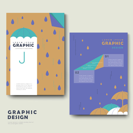 rainy day: rainy day brochure template design with lovely umbrella Illustration