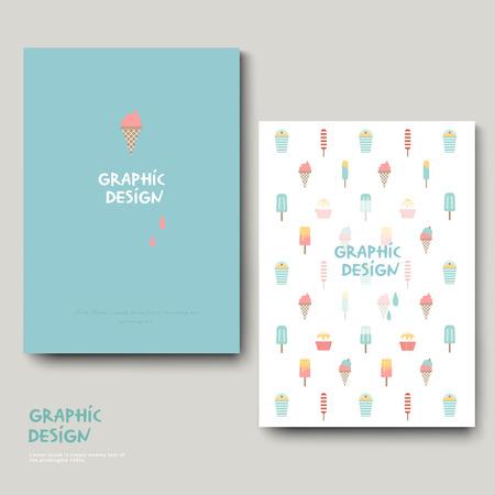 intro: adorable brochure template design with ice cream set