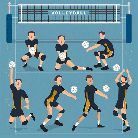 volleyball serve: Volleyball players collection - summer game event in flat style
