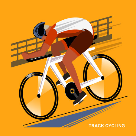 sport event: Track cycling athletes - summer game sport event in flat style Illustration
