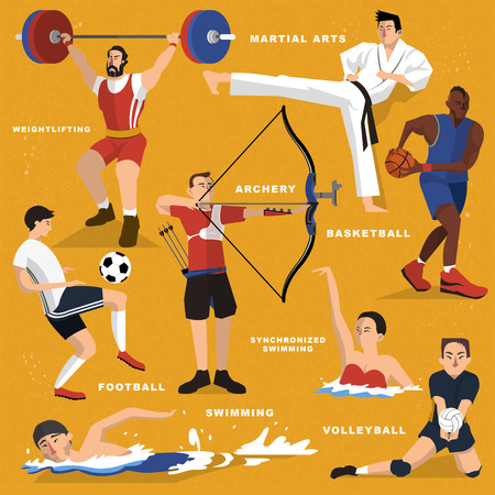 natación sincronizada: colección de eventos deportivos de verano juego en el estilo plano
