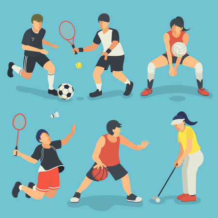 summer game: Summer game event sports collection in flat style Illustration