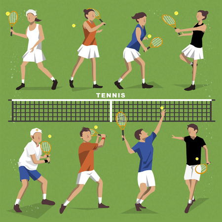 summer game: Tennis players collection - summer game event in flat style Illustration