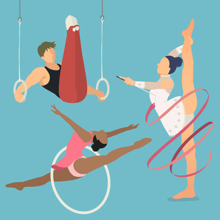 summer game: Rhythmic and artistic gymnastics - summer game event in flat style