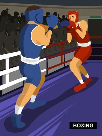 summer game: Boxing - summer game combat sport event in flat style
