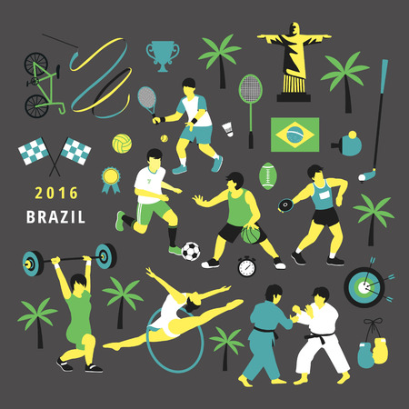 summer game: 2016 Brazil summer game event - sports collection in flat style
