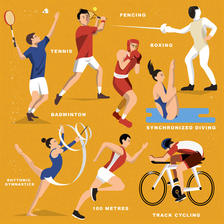 Summer game event sports collection in flat style Illustration