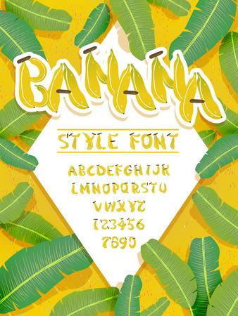 Animado diseño de la fuente de plátano - las letras y los números incluidos Foto de archivo - 60122641