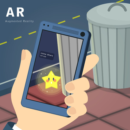 Augmented Reality game concept in flat style
