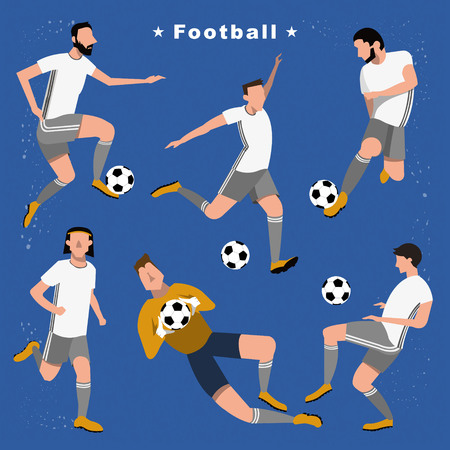 Football players collection - summer game event in flat style