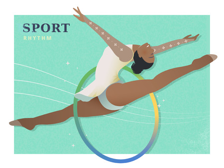 summer game: Rhythmic gymnastics - summer game event in flat style
