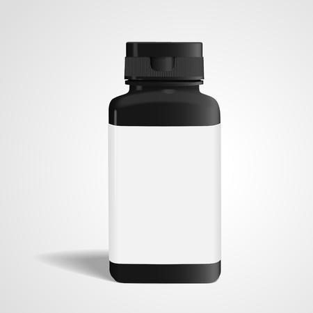 bottle of medicine: blank medicine bottle with label isolated on white background. 3D illustration.