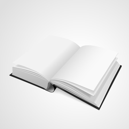 reference book: open blank book isolated on white background. 3D illustration.
