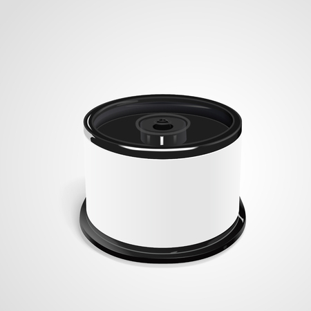 cd label: CD container with blank label isolated on white background. 3D illustration.