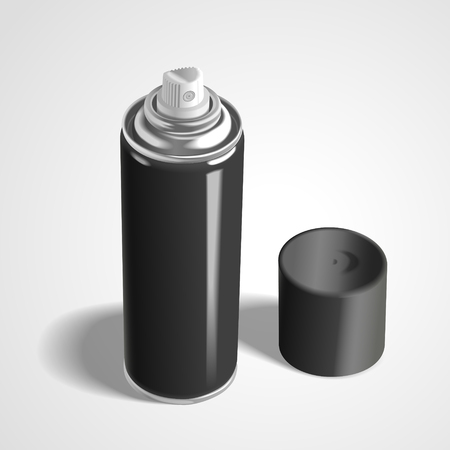 freshener: blank aerosol can isolated on white background. 3D illustration.