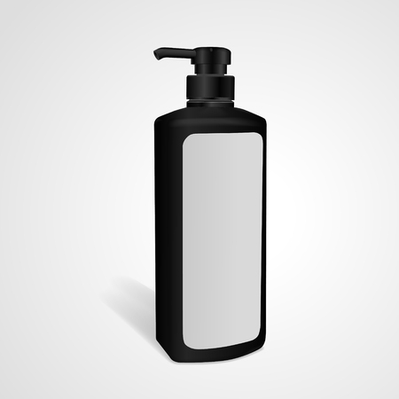blank label: shampoo bottle with blank label isolated on white background. 3D illustration.