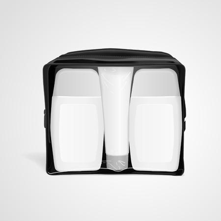 small blank plastic bottles for traveling isolated on white background. 3D illustration.