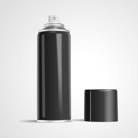 aerosol: blank aerosol can isolated on white background. 3D illustration.