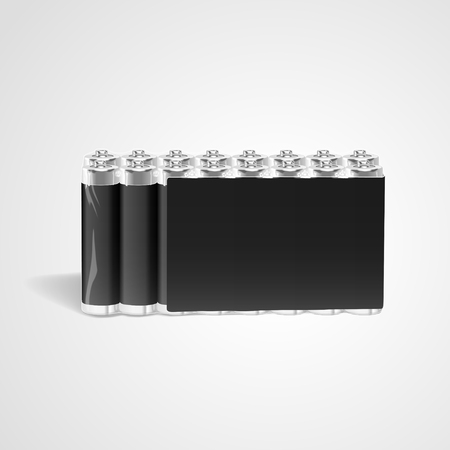 power supply unit: pack of blank batteries isolated on white background. 3D illustration. Illustration