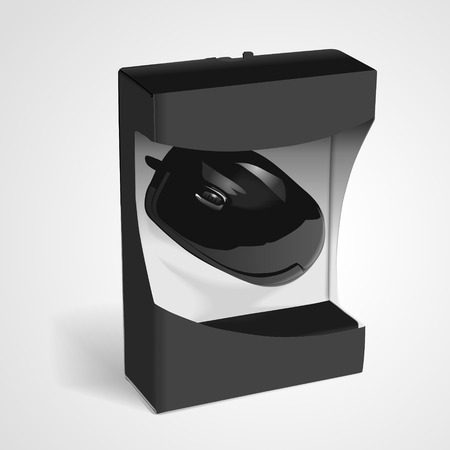 scroller: black mouse wrapped in the box isolated on white background. 3D illustration. Illustration
