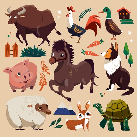 funny ox: Lovely farm animals set in flat style Illustration