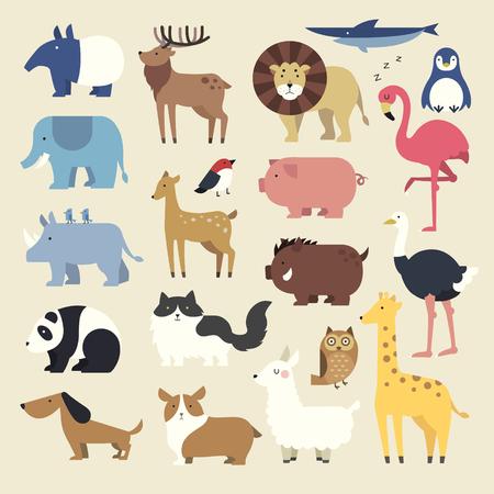 Wild cartoon animals set in flat style Illustration