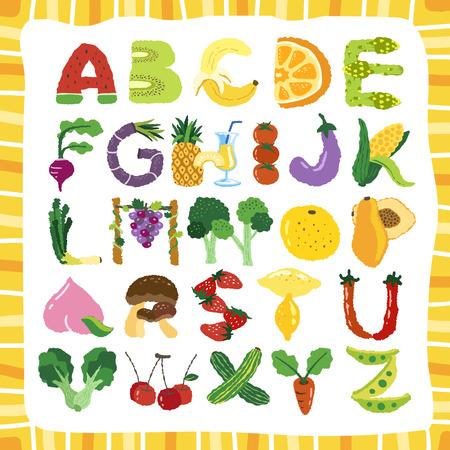 과일과 야채의 손으로 그려진 알파벳