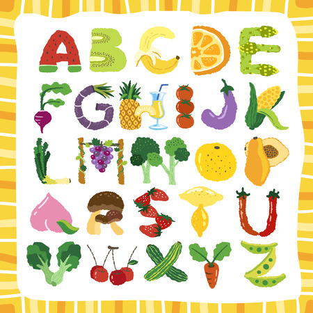 hand drawn alphabet of fruit and vegetable Illustration