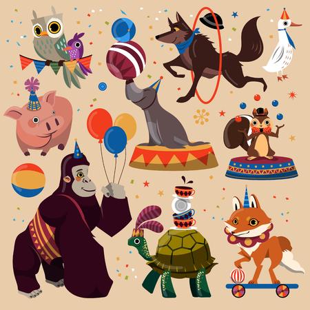 Aantrekkelijke circusdieren set met vermaakt trucs