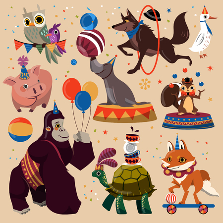 cheer: Attractive circus animals set with entertained tricks