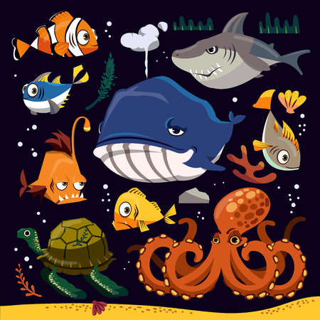 and marine life: Funny marine life collection with different creatures Illustration