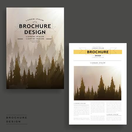 dreamy: Elegant brochure template design with dreamy woodland
